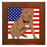 Red Nose Pit Bull USA Flag Framed Tile