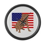 Red Nose Pit Bull USA Flag Large Wall Clock