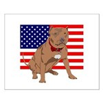 Red Nose Pit Bull USA Flag Small Poster