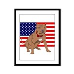 Red Nose Pit Bull USA Flag Framed Panel Print