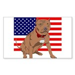 Red Nose Pit Bull USA Flag Rectangle Sticker