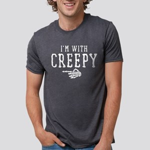 Halloween I'm With Creepy Mens Tri-blend T-Shirt