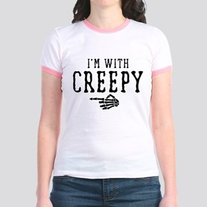 Halloween I'm With Creepy Jr. Ringer T-Shirt