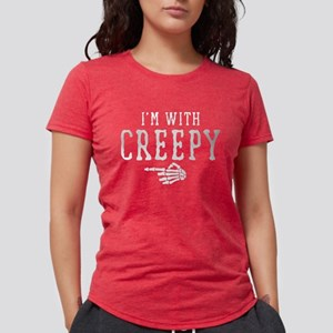Halloween I'm With Creepy Womens Tri-blend T-Shirt