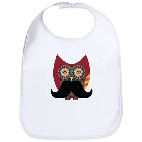 red owl with mustache Bib