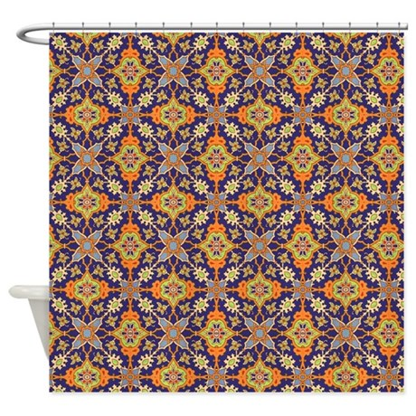 vintage blue and orange shower curtain by graphicallusions. Black Bedroom Furniture Sets. Home Design Ideas