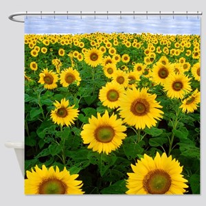 Yellow and Green Sunflowers Shower Curtain