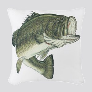 large mouth bass Woven Throw Pillow