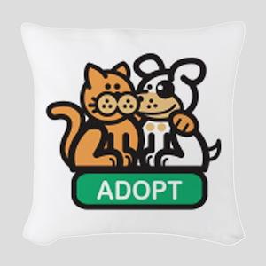 adopt animals Woven Throw Pillow