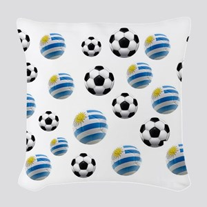 Uruguay Soccer Balls Woven Throw Pillow