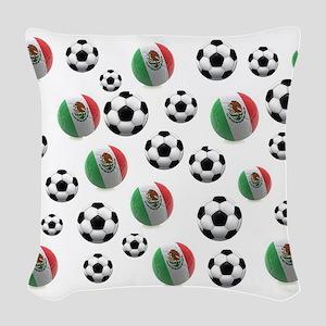 Mexican soccer balls Woven Throw Pillow