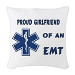 proud emt girlfrien... Woven Throw Pillow