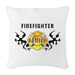 Firefighter Family Woven Throw Pillow