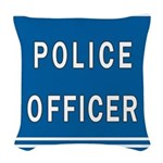 police officer blues Woven Throw Pillow