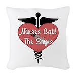 Nurses Call The Shots Woven Throw Pillow