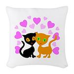 Kitty Cat Love Woven Throw Pillow