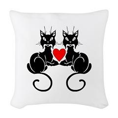Black Cat Love Woven Throw Pillow
