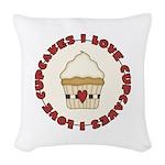 I Love Cupcakes Woven Throw Pillow