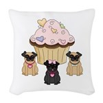 Cupcake Pug Dogs Woven Throw Pillow