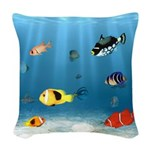 Oceans Of Fish Woven Throw Pillow