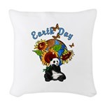 sunflower earth panda Woven Throw Pillow