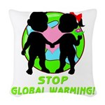 global warning kids redone Woven Throw Pillow