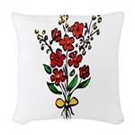 Red Rose Woven Throw Pillow