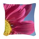 pink gerbera daisy pillow Woven Throw Pillow