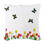 Tulip Garden and Butterflies Woven Throw Pillow