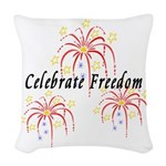 USA July 4th Fireworks Woven Throw Pillow