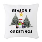 holiday snowman redone Woven Throw Pillow