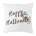 Happy Halloween Ghost Woven Throw Pillow
