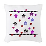 Hearts and Flowers Woven Throw Pillow