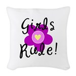 Girls Rule Woven Throw Pillow