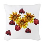 Ladybug Party Woven Throw Pillow