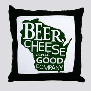 Beer, Chees & Good Company in Green Throw Pillow