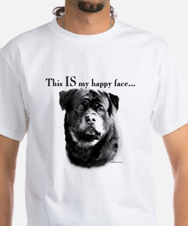 Rottweiler Happy Face White T-Shirt