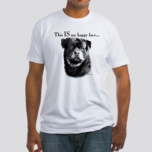 Rottweiler Happy Face Fitted T-Shirt