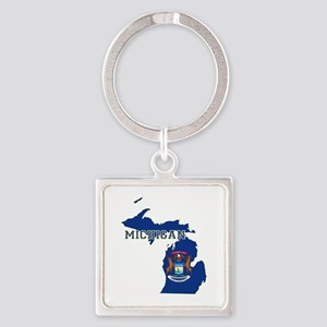 Michigan Flag Square Keychain