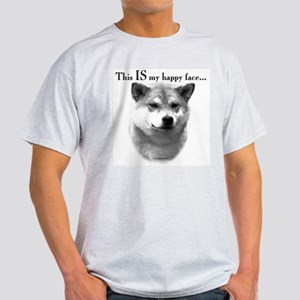 Shiba Inu Happy Face Ash Grey T-Shirt