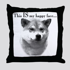 Shiba Inu Happy Face Throw Pillow