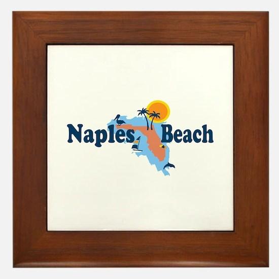 Naples Beach - Map Design. Framed Tile