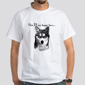 Husky Happy Face White T-Shirt