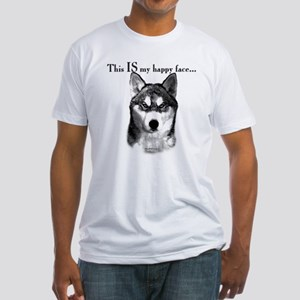 Husky Happy Face Fitted T-Shirt