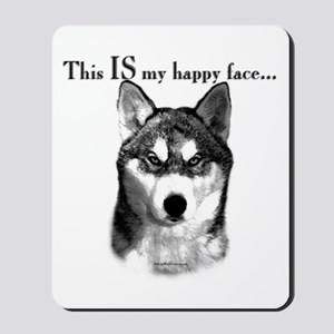 Husky Happy Face Mousepad