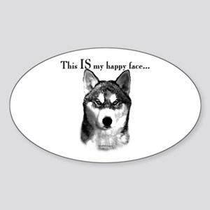 Husky Happy Face Oval Sticker