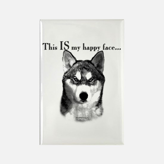 Husky Happy Face Rectangle Magnet