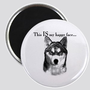 Husky Happy Face Magnet