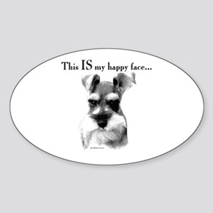Std. Schnauzer Happy Face Oval Sticker