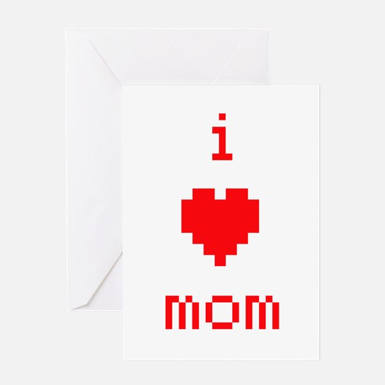 i heart mom (red) Greeting Card